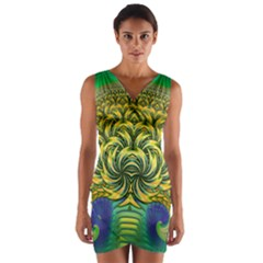 Fractal Tree Abstract Fractal Art Wrap Front Bodycon Dress