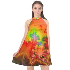 Background Abstract Color Form Halter Neckline Chiffon Dress  by Pakrebo