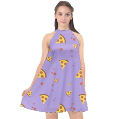 Pizza Pattern Violet Pepperoni Cheese Funny Slices Halter Neckline Chiffon Dress  by genx