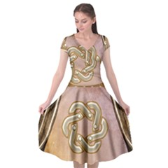 Decorative Celtic Knot Cap Sleeve Wrap Front Dress by FantasyWorld7