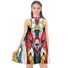 Graffiti 2 Halter Neckline Chiffon Dress  by ArtworkByPatrick