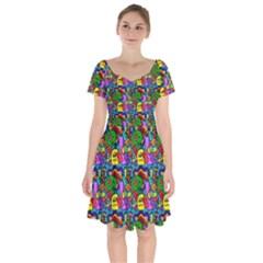 Graffiti 3 1 Short Sleeve Bardot Dress