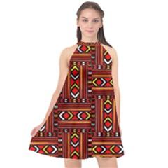 Texture Red Orange Halter Neckline Chiffon Dress