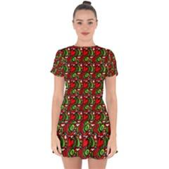 Hearts Drop Hem Mini Chiffon Dress