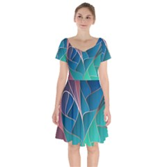 Modern Colorful Abstract Art Short Sleeve Bardot Dress by tarastyle