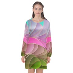 Modern Colorful Abstract Art Long Sleeve Chiffon Shift Dress  by tarastyle