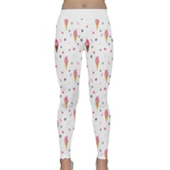 Ice Cream Cones Watercolor With Fruit Berries And Cherries Summer Pattern Classic Yoga Leggings by genx