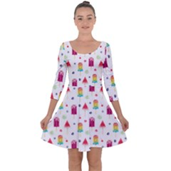 Popsicle Juice Watercolor With Fruit Berries And Cherries Summer Pattern Quarter Sleeve Skater Dress by genx