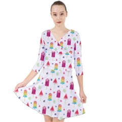 Popsicle Juice Watercolor With Fruit Berries And Cherries Summer Pattern Quarter Sleeve Front Wrap Dress by genx
