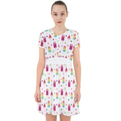 Popsicle Juice Watercolor With Fruit Berries And Cherries Summer Pattern Adorable In Chiffon Dress by genx