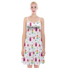 Popsicle Juice Watercolor With Fruit Berries And Cherries Summer Pattern Spaghetti Strap Velvet Dress by genx