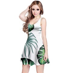 Pineapple Tropical Jungle Giant Green Leaf Watercolor Pattern Reversible Sleeveless Dress