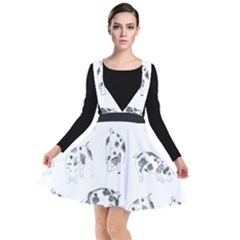 Pigs Handrawn Black And White Square13k Black Pattern Skull Bats Vintage K Plunge Pinafore Dress by genx