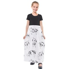 Pigs Handrawn Black And White Square13k Black Pattern Skull Bats Vintage K Kids  Short Sleeve Maxi Dress by genx