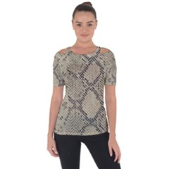 Snakeskin Pattern Lt Brown Shoulder Cut Out Short Sleeve Top by retrotoomoderndesigns
