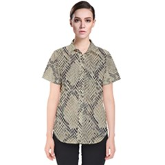 Snakeskin Pattern Lt Brown Women s Short Sleeve Shirt by retrotoomoderndesigns