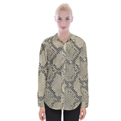 Snakeskin Pattern Lt Brown Womens Long Sleeve Shirt by retrotoomoderndesigns