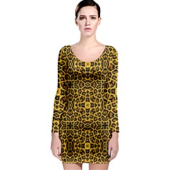 Leopard Stylise Long Sleeve Bodycon Dress by ArtworkByPatrick
