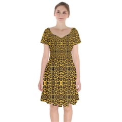 Leopard Stylise Short Sleeve Bardot Dress