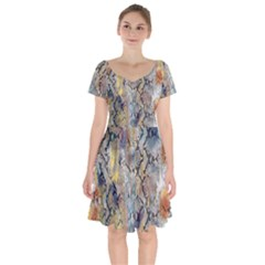 Luxury Snake Print Short Sleeve Bardot Dress by tarastyle