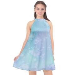 Pastel Salty Watercolor Texture Halter Neckline Chiffon Dress  by tarastyle