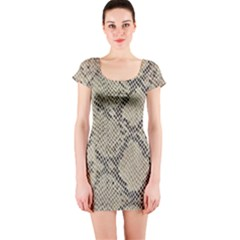 Snakeskin Pattern Lt Brown Short Sleeve Bodycon Dress by retrotoomoderndesigns