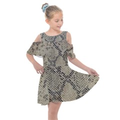 Snakeskin Pattern Lt Brown Kids  Shoulder Cutout Chiffon Dress by retrotoomoderndesigns