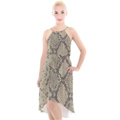 Snakeskin Pattern Lt Brown High Low Halter Chiffon Dress  by retrotoomoderndesigns