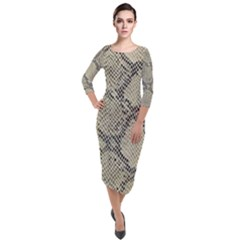 Snakeskin Pattern Lt Brown Quarter Sleeve Midi Velour Bodycon Dress by retrotoomoderndesigns