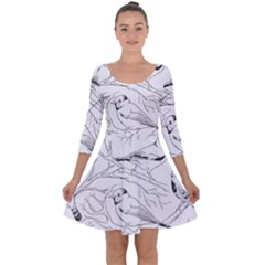 Birds Hand Drawn Outline Black And White Vintage Ink Quarter Sleeve Skater Dress by genx