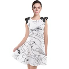 Birds Hand Drawn Outline Black And White Vintage Ink Tie Up Tunic Dress by genx