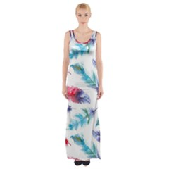 Feathers Boho Style Purple Red And Blue Watercolor Maxi Thigh Split Dress by genx