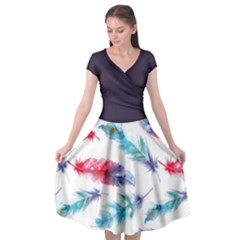 Feathers Boho Style Purple Red And Blue Watercolor Cap Sleeve Wrap Front Dress
