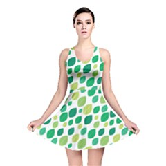 Leaves Green Modern Pattern Naive Retro Leaf Organic Reversible Skater Dress by genx