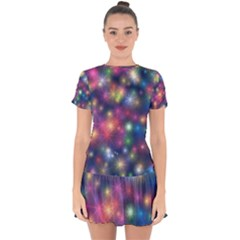 Abstract Background Graphic Space Drop Hem Mini Chiffon Dress by Bajindul
