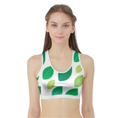 Leaves Green Modern Pattern Naive Retro Leaf Organic Sports Bra With Border