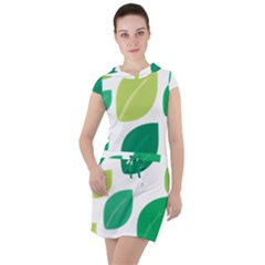 Leaves Green Modern Pattern Naive Retro Leaf Organic Drawstring Hooded Dress by genx