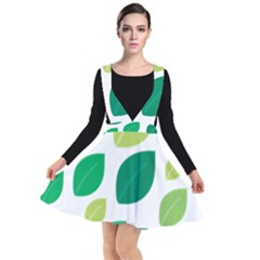 Leaves Green Modern Pattern Naive Retro Leaf Organic Plunge Pinafore Dress by genx