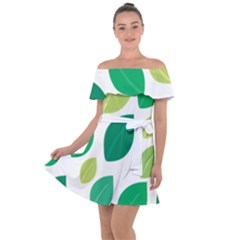 Leaves Green Modern Pattern Naive Retro Leaf Organic Off Shoulder Velour Dress by genx