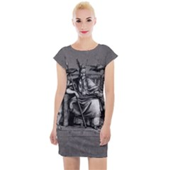 Odin On His Throne With Ravens Wolf On Black Stone Texture Cap Sleeve Bodycon Dress by snek