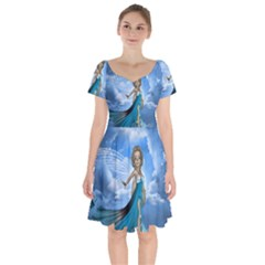 Cute Fairy In The Sky Short Sleeve Bardot Dress by FantasyWorld7
