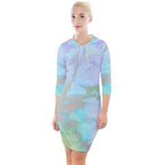 Iridescent Marble Quarter Sleeve Hood Bodycon Dress