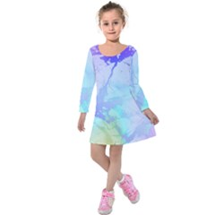 Iridescent Marble Kids  Long Sleeve Velvet Dress by tarastyle