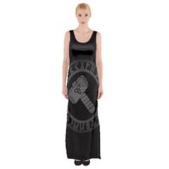Thor Hammer With Runes Valhalla Tristella Viking Norse Mythology Mjolnir  Maxi Thigh Split Dress by snek