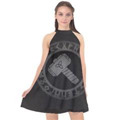Thor Hammer With Runes Valhalla Tristella Viking Norse Mythology Mjolnir  Halter Neckline Chiffon Dress  by snek