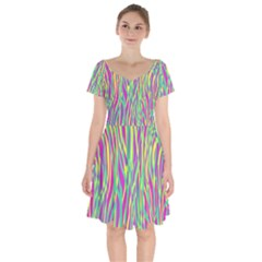 Funky Zebra Print Short Sleeve Bardot Dress by tarastyle