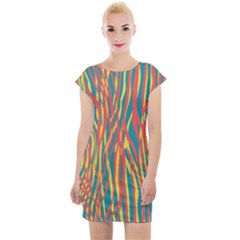 Funky Zebra Print Cap Sleeve Bodycon Dress by tarastyle