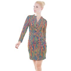 Funky Zebra Print Button Long Sleeve Dress by tarastyle