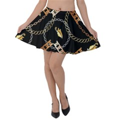 Luxury Chains And Belts Pattern Velvet Skater Skirt by tarastyle