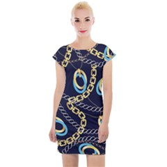 Luxury Chains And Belts Pattern Cap Sleeve Bodycon Dress by tarastyle